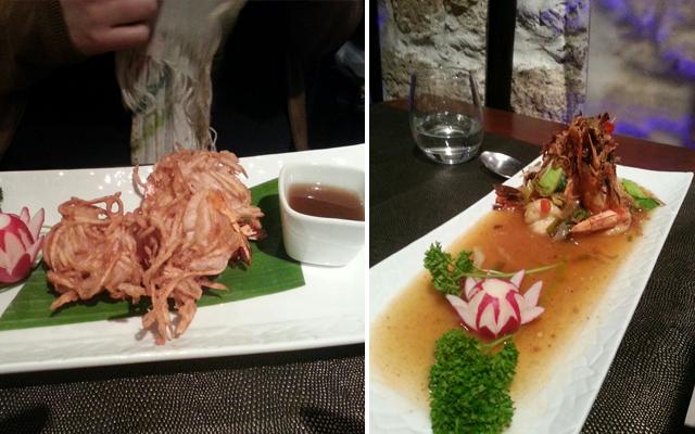 Crevettes au taro & Gambas au wok tamarin